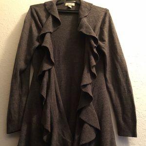 Sweaters - Black Ruffled cardigan